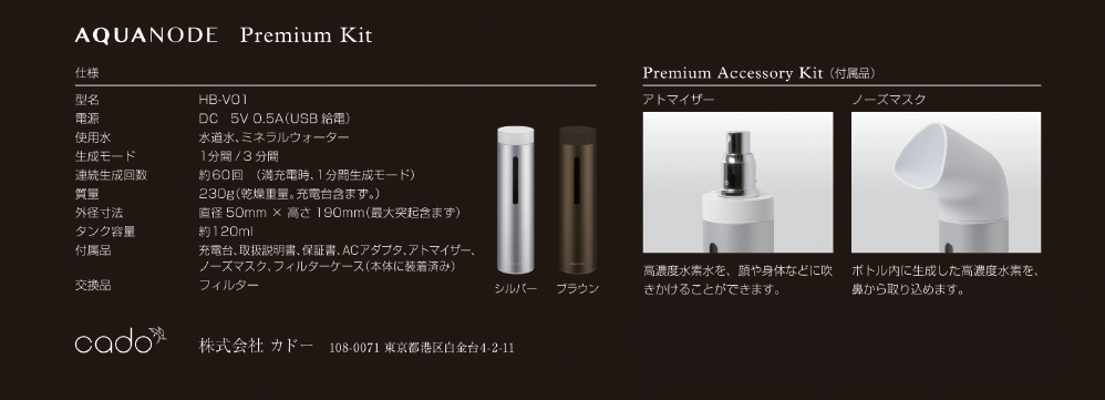 AQUANODE Premium Kit 仕様